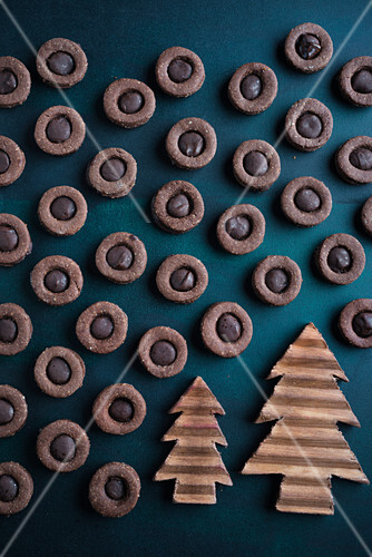 Nougat coffee thumbprint cookies
