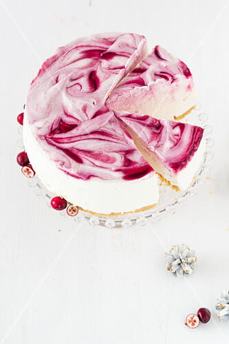 No-bake cranberry cake, sliced