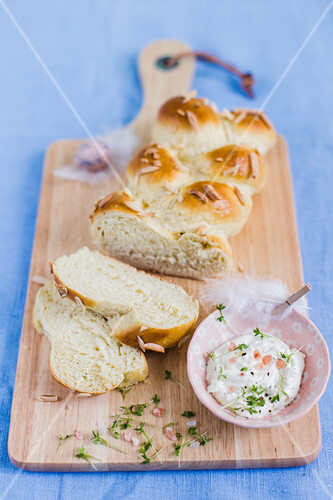 Yeast dough bread with an Easter spread