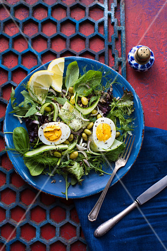 Summer salad with edamame, egg and herbs