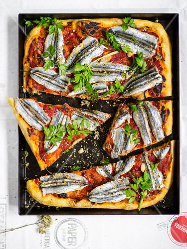 Pizza with tomato sauce and fresh sardines