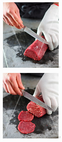 Frozen beef fillet being turned into carpaccio