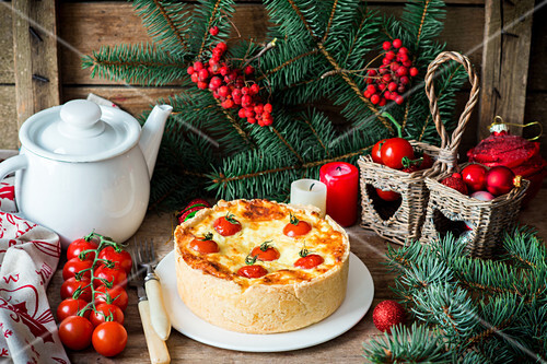 Cheese and tomato cake for Christmas