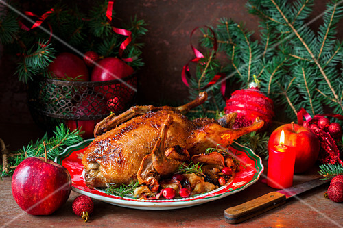 Festive roast duck for Christmas