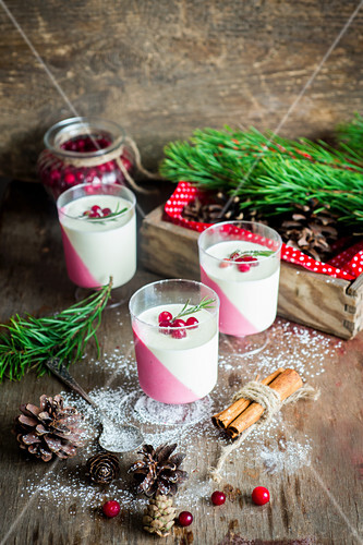 Cranberry panna cotta for Christmas
