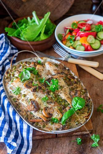 Roast fish fillet with vegetables