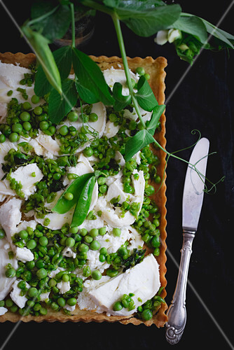 Pea and goat's cheese tart (gluten free)