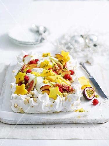 Christmas Tropical Baiser Cake with Tropical Fruit