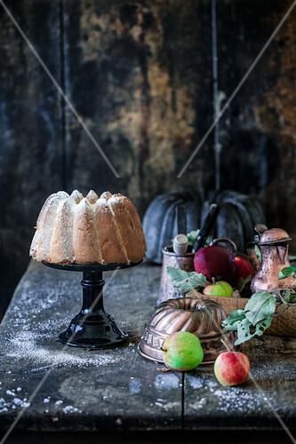 Coconut apple pie with powdered sugar
