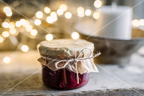 Christmas jam in a glass jar for gifting