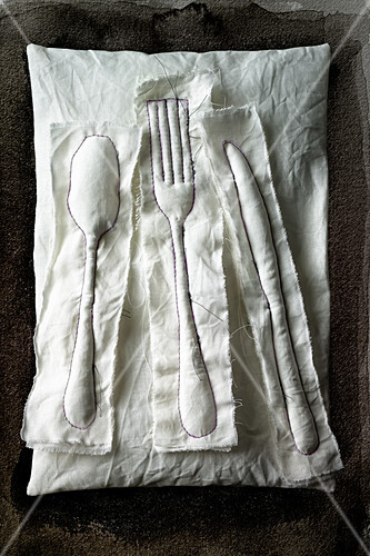 Food art: textile cutlery (inspired by Claes Oldenburg)