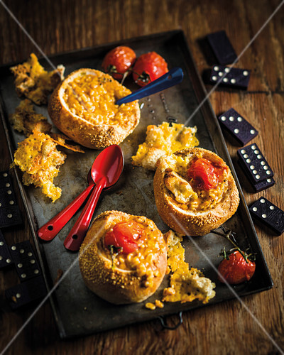 Tomato soup filled buns with alphabet pasta