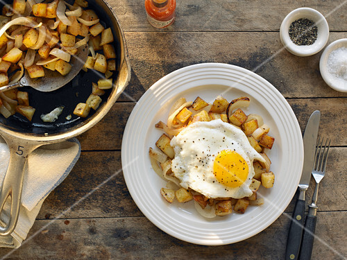 Potato Hash With a Fried Egg