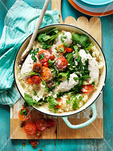 Oven Baked Risotto with Chicken, Rocket and Semi Dried Tomatoes