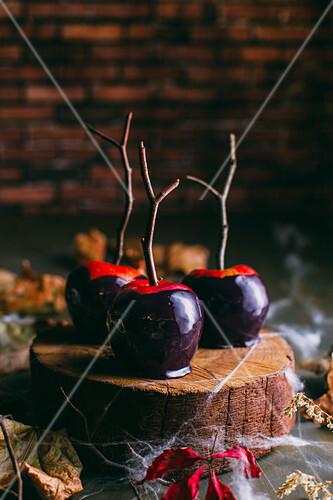 Halloween caramel apples with sticks on dark background