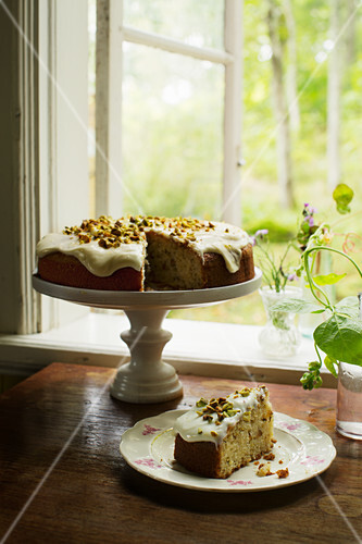 Parsnip cake with pistachio nuts