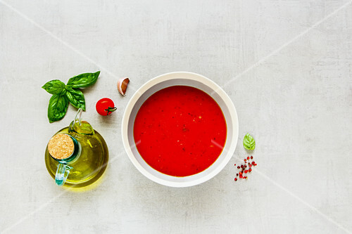Seasonal tomato soup (or gazpacho) in bowl