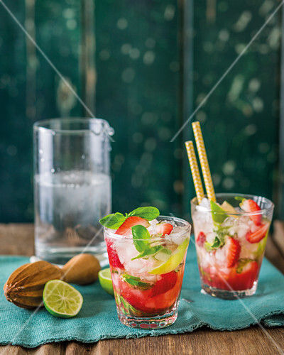 Strawberry and basil mojito