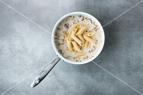 Short pasta is best with a think, creamy sauce