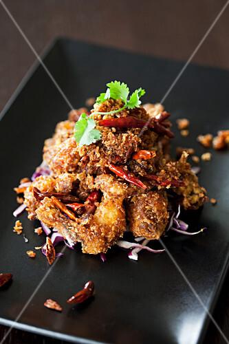 Scharfe Hähnchen-Crispies mit Chili (Asien)
