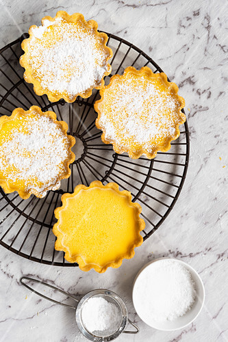 Lemon tarts dusted with icing sugar on a cake rack