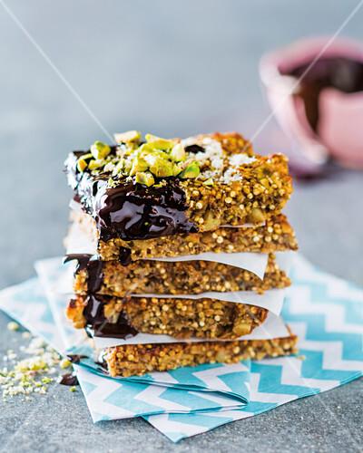 Nutty quinoa and chia banana bars