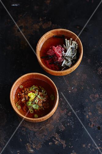 Dashi with beef tartare and dashi with natto