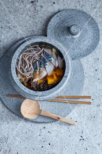 Dashi soba noodle soup with mackerel