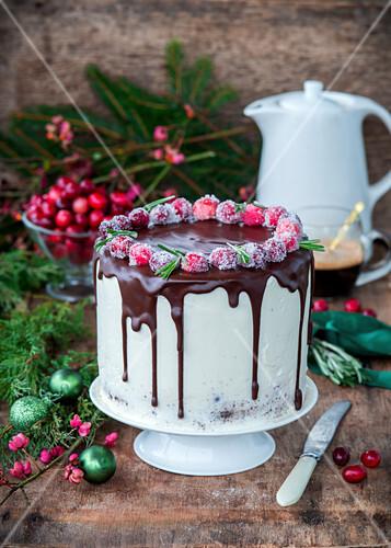 Weihnachtskuchen mit Cranberries, Frischkäse und Schokolade