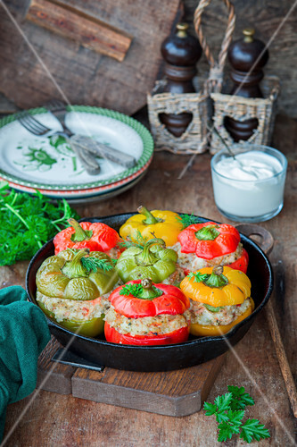 Stuffed peppers with chicken meat and rice