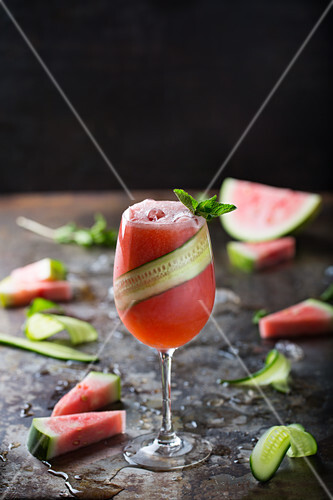 Watermelon Cucumber and Mint Mocktail