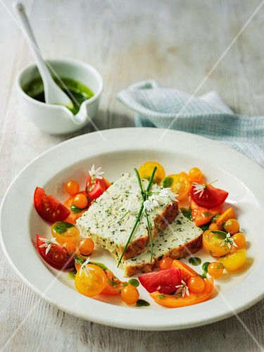 Ricotta cheese and herb loaf with tomato salad