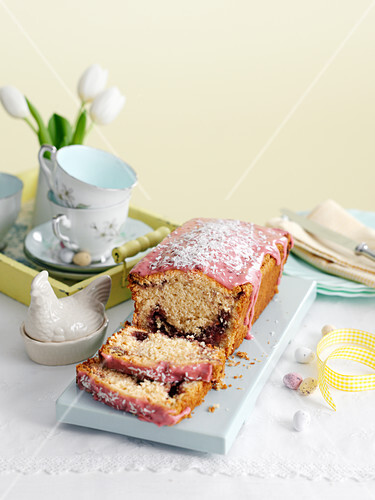 Coconut loaf cake with raspberry jam (Easter)