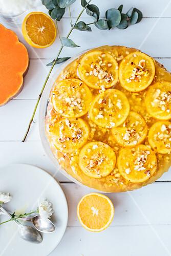 Pumpkin and oranges tarton white table