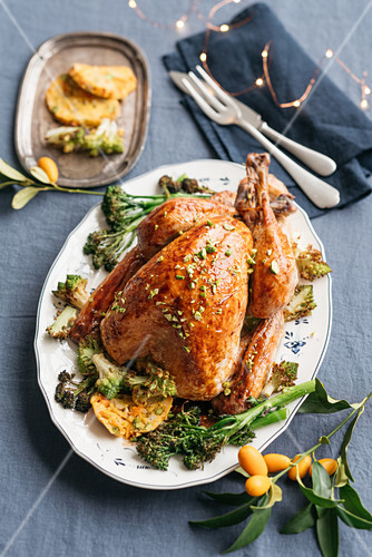 Turkey with kumquat and pistachio stuffing and oven roasted broccolini