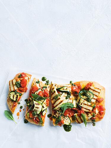 Haloumi and zucchini turkish pizza