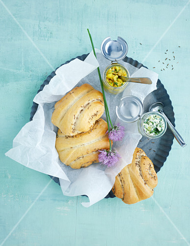 Savoury bread rolls with various spreads