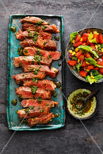 Ribeye steaks with Chimichurri from Argentina and Creole salad