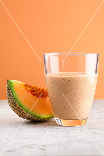 Musk melon and seed mix with yoghurt and chia seeds