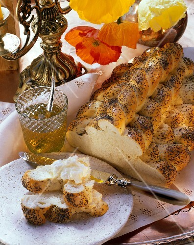 Challah (Israeli feast-day bread) with cottage cheese & honey