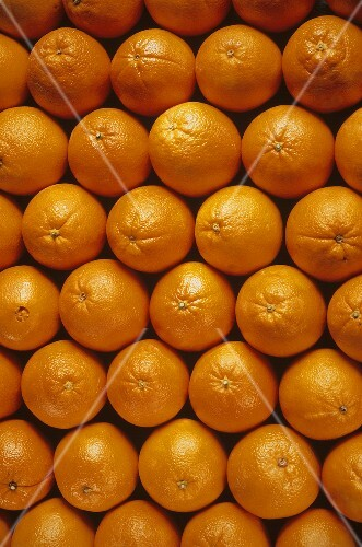 Several Fresh Oranges from Overhead