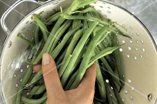Washing Green Beans in a Collander