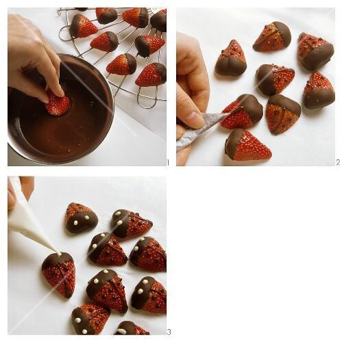 Making strawberry ladybirds