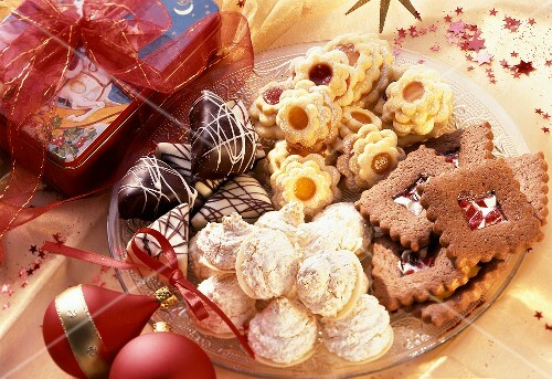 Various Christmas biscuits on plate