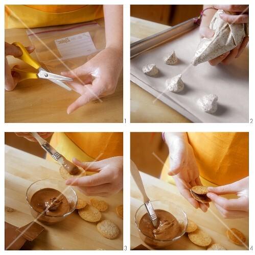 Making chocolate nut cookies