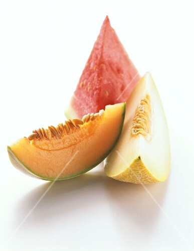 Wedges of melon: watermelon, honeydew melon, charentais