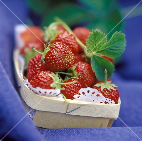 Punnet of strawberries on blue fabric