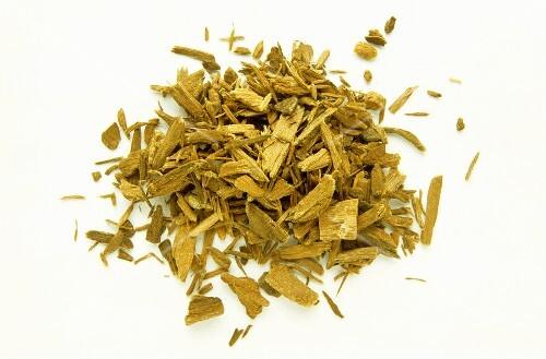 A heap of yohimbehe bark; aphrodisiac, for high blood pressure