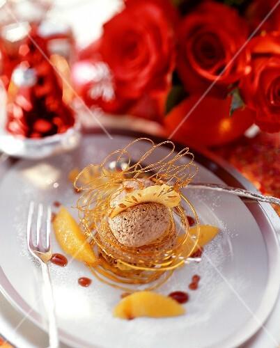 Gingerbread mousse with orange segments & caramel lattice