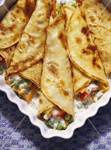 Vegetable Pancake Roll-ups on a Serving Dish